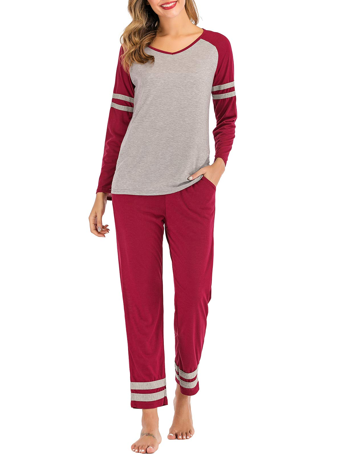 AOVXO Soft Pajama Set for Women Casual V-Neck Long Sleeve Loose Loungewear Set Long Sleeve Tops & Long Sleep Pants with Pockets Loungewear (Wine Red with Grey, XXL)