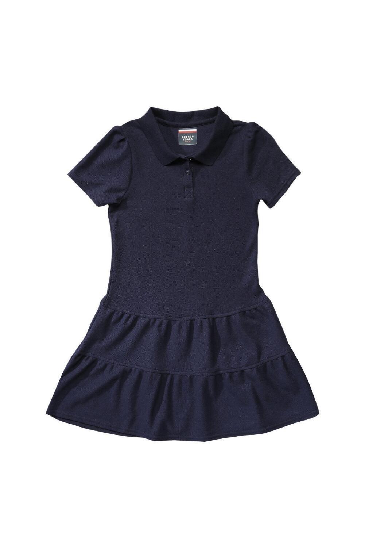 French Toast Little Girls' Ruffled Pique Dress, Navy, 3T
