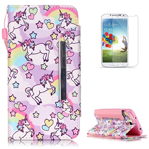 Samsung Galaxy S4 i9500 Premium Leather Wallet Case [Free Screen Protector],KaseHom Cute Animal Unicorn Rainbow Pattern Design Folio Flip Magnetic Protective PU Leather Case Cover Skin Shell