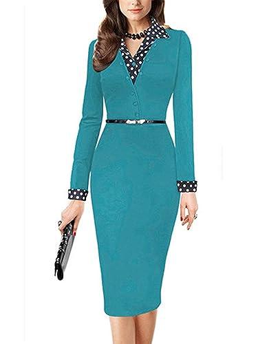 Yomoko Women's Lapel Polka Dot Long Sleeve Wear to Work Office Pencil Dress