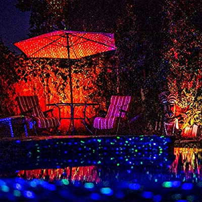BlissLights 16 Color LED + Red Laser Projector - Indoor/Outdoor Decoration Landscape Lights for Holidays, Events, Parties, Pathways (Red)