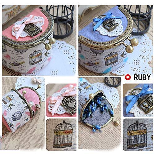 RUBY - Boquilla para bolsos y monederos Cierre de boquilla para bolso Cierre monederos boquilla de bolso para Patchwork (Bronce, 15cm)