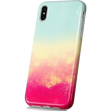 JAWSEU Funda Compatible con iPhone X/XS, Carcasa Brillante ...