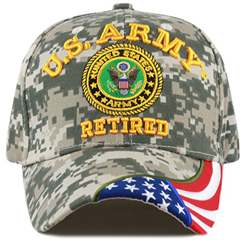THE HAT DEPOT Military Licensed 3D Embroidered Retired Cap (Digital Camo-Army-Flag)