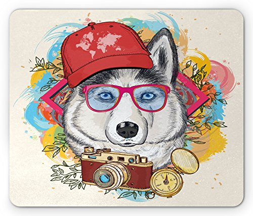 Lunarable Husky Mouse Pad, Hipster Dog Image on Smudged Watercolor Background with Cap Sunglasses Retro Compass, Standard Size Rectangle Non-Slip Rubber Mousepad, Multicolor