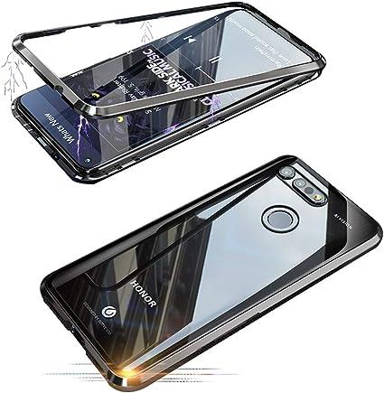 Jonwelsy Funda Huawei Honor V20 / View 20 (6,4 Pulgada), Fuerte Tecnología de Adsorción Magnética Metal Bumper, Cubierta Trasera de Transparente Vidrio Templado Ultra Delgado Case Cover (Negro): Amazon.es: Electrónica