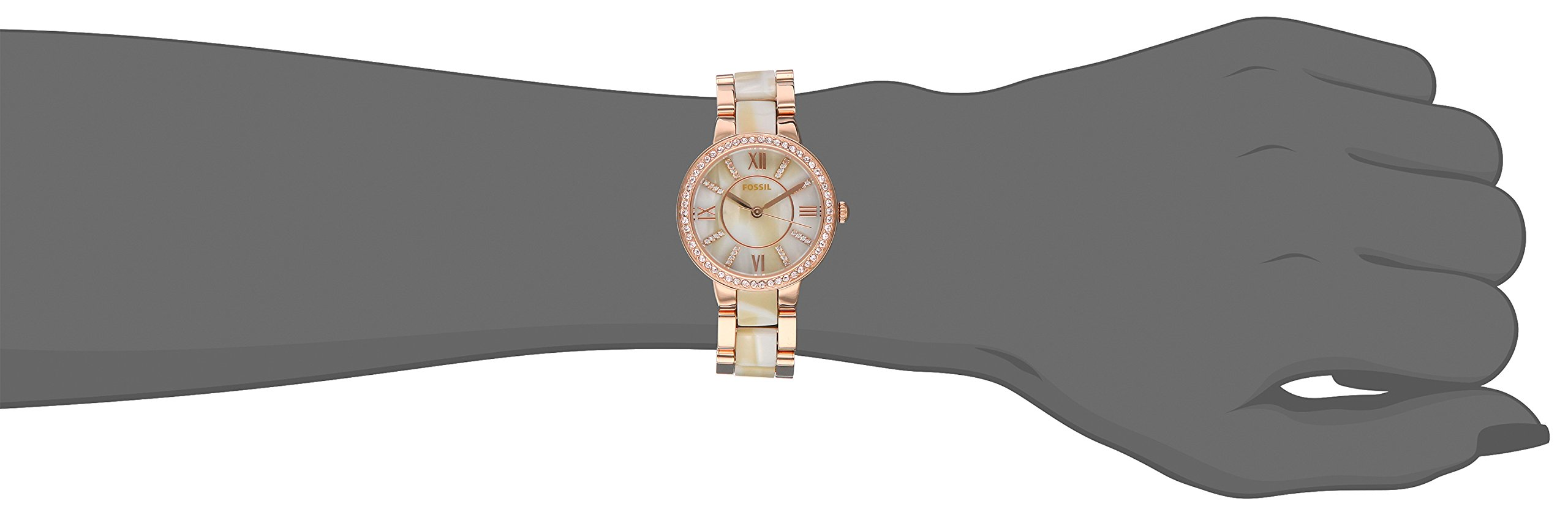 Fossil Women's Virginia Quartz Stainless Steel and Horn Acetate Dress Watch, Color: Rose Gold-Tone (Model: ES3716) by Fossil (Image #3)
