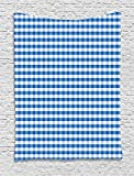 asddcdfdd Checkered Tapestry, Monochrome Gingham Checks Classical Country Culture Old Fashioned Grid Design, Wall Hanging for Bedroom Living Room Dorm, 60 W X 80 L Inches, Blue White