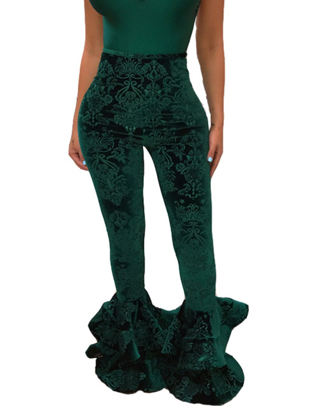 GUOLEZEEV Womens Stretchy Fit and Flared Pants Sexy Ruffle Hem Skinny Leggings Green L