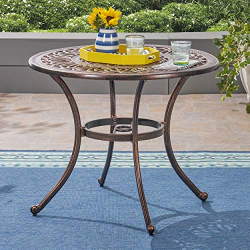 Great Deal Furniture 306273 Jamie Outdoor Round Cast Aluminum Dining Table, Shiny Copper