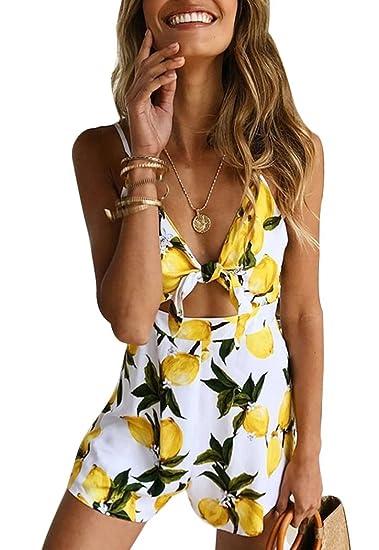 086995c86453 Image Unavailable. Image not available for. Color  Ponce Fashion Women  Strap V-Neck Hollow Lemon Print Backless Romper Jumpsuit Bodysuit