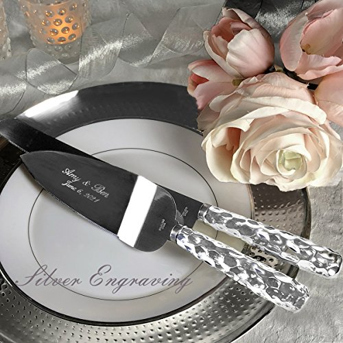 PERSONALIZED, Engraved Hammered Design Silver Stainless Wedding Cake Serving Set - Knife and Server by Fashioncraft (Image #1)