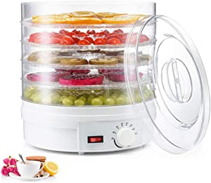 TOPQSC Food Dehydrator with 5 Trays for Fruit Vegetable Food Jerky Spice,Meat Drying Machine, Snacks Food Dryer,Multiple Use, Multifunction Kichen Dehydrator Machine