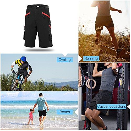 Lixada Sport Shorts atmungsaktiv für Langlauf-Mountainbike, Bergsteigen und andere Outdoor Aktivitäten Schwarz-S