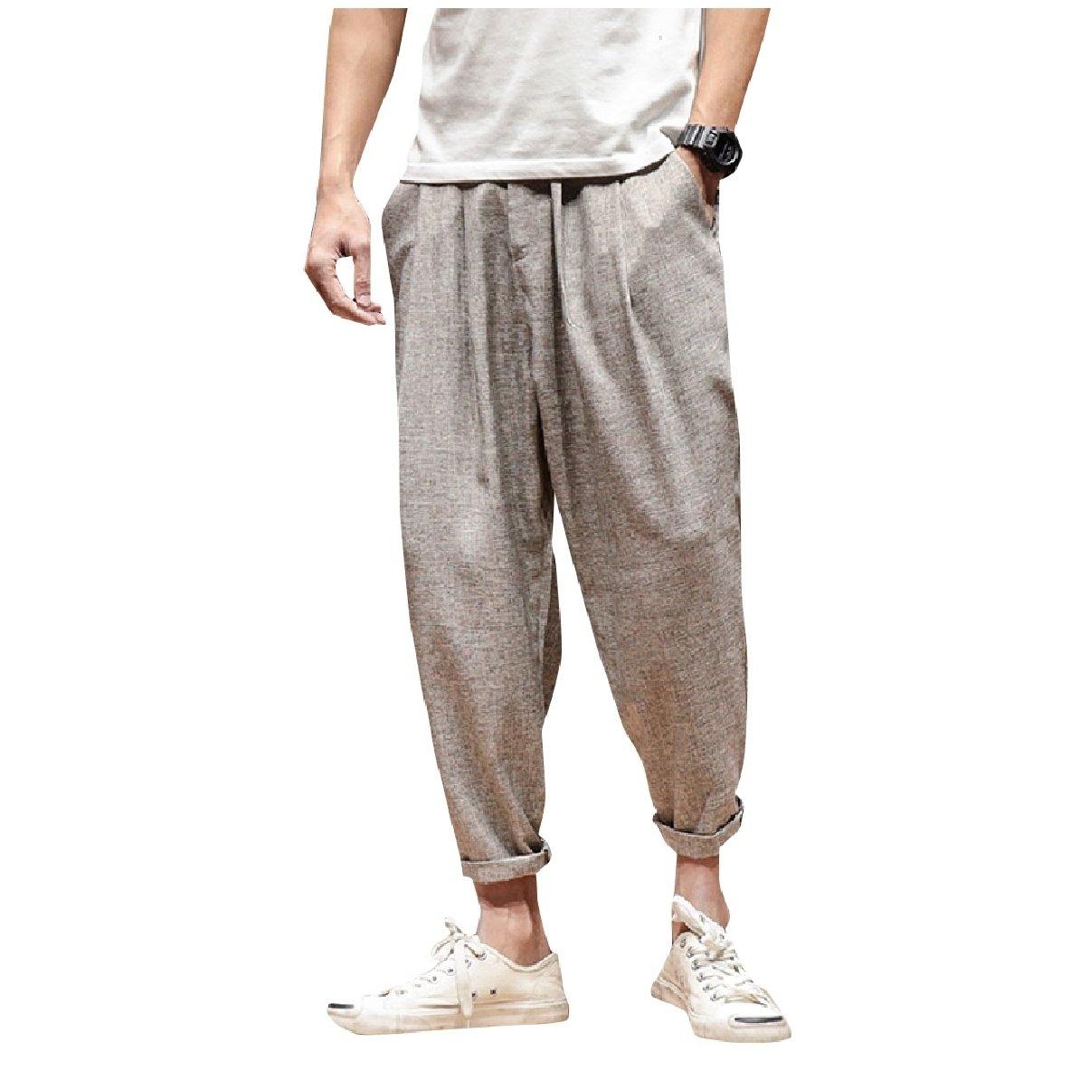 YUNY Mens Plus Size Elastic Waist Trousers Breathable Harem Pants Apricot 3XL