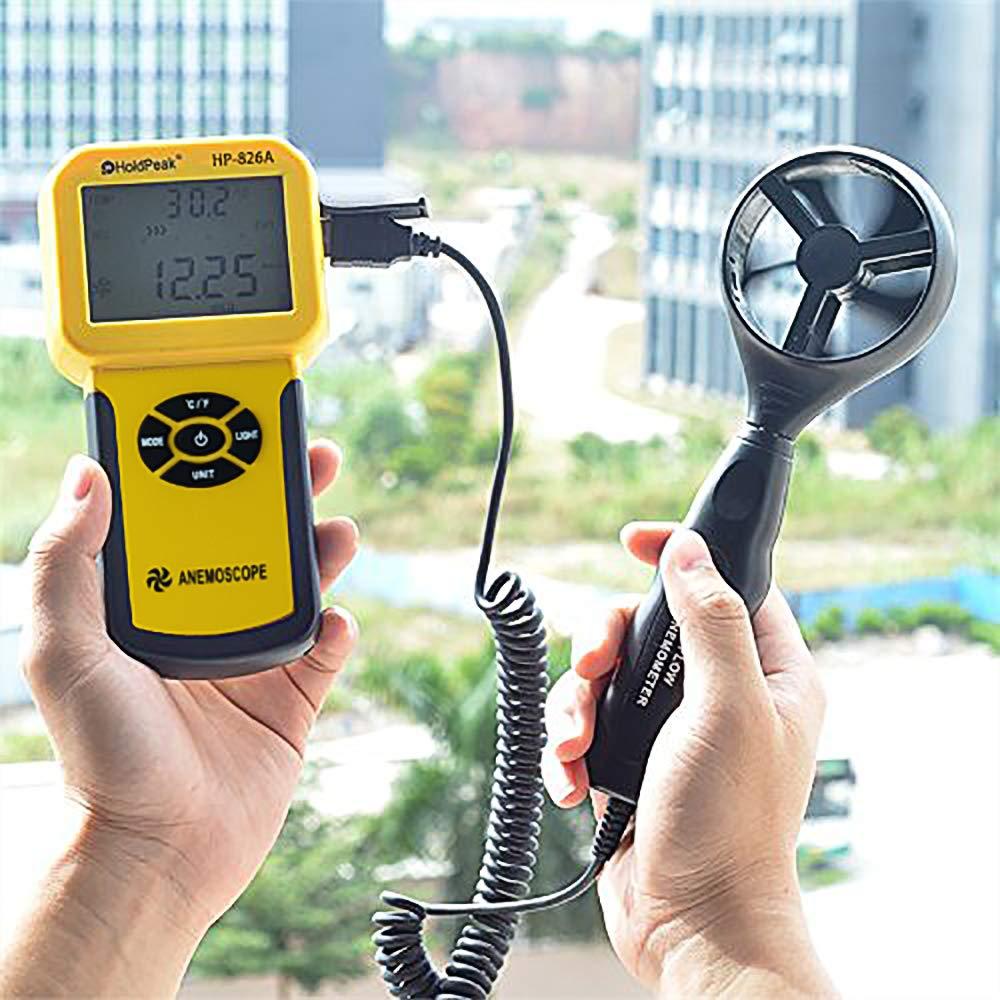 Dispositivo Port/átil con Funci/ón de Registrador de Datos,℃//℉,M/áx//M/ín//Promedio//Actual 10℃~45℃(14℉~113℉) Velocidad del Viento//Metro de la Temperatura HoldPeak 826A Anem/ómetro Digital