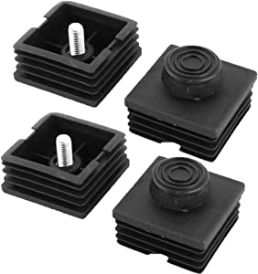 uxcell Plastic Square Adjustable Furniture Parts Leveling Foot Tube Insert 50 x 50mm 4 Sets