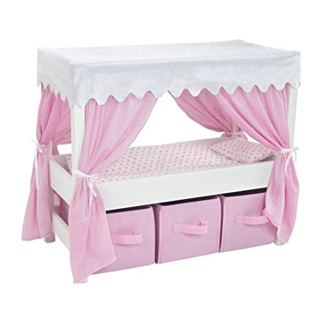 18 Inch Doll Furniture | Lovely Pink and White Canopy Bed with 3 Storage Bins for  sc 1 st  Amazon.com & Amazon.com: 18 Inch Doll Furniture | Lovely Pink and White Canopy ...