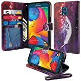 Nextkin Samsung Galaxy S5 Sport G860 Leather Pouch Wallet Card With TPU Gel Protector Cover Case - Birds Of A Feather