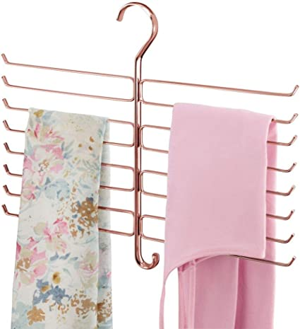 foulard oro rosato mDesign Appendino per sciarpe Porta sciarpe con 16 ganci in metallo leggins e pantaloni Organizer salvaspazio per il guardaroba e larmadio
