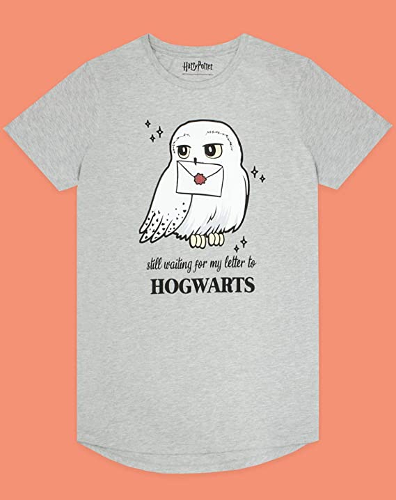 HARRY POTTER Grey algod/ón Vestido de la Noche Pijama Hogwarts de Hedwig Chica