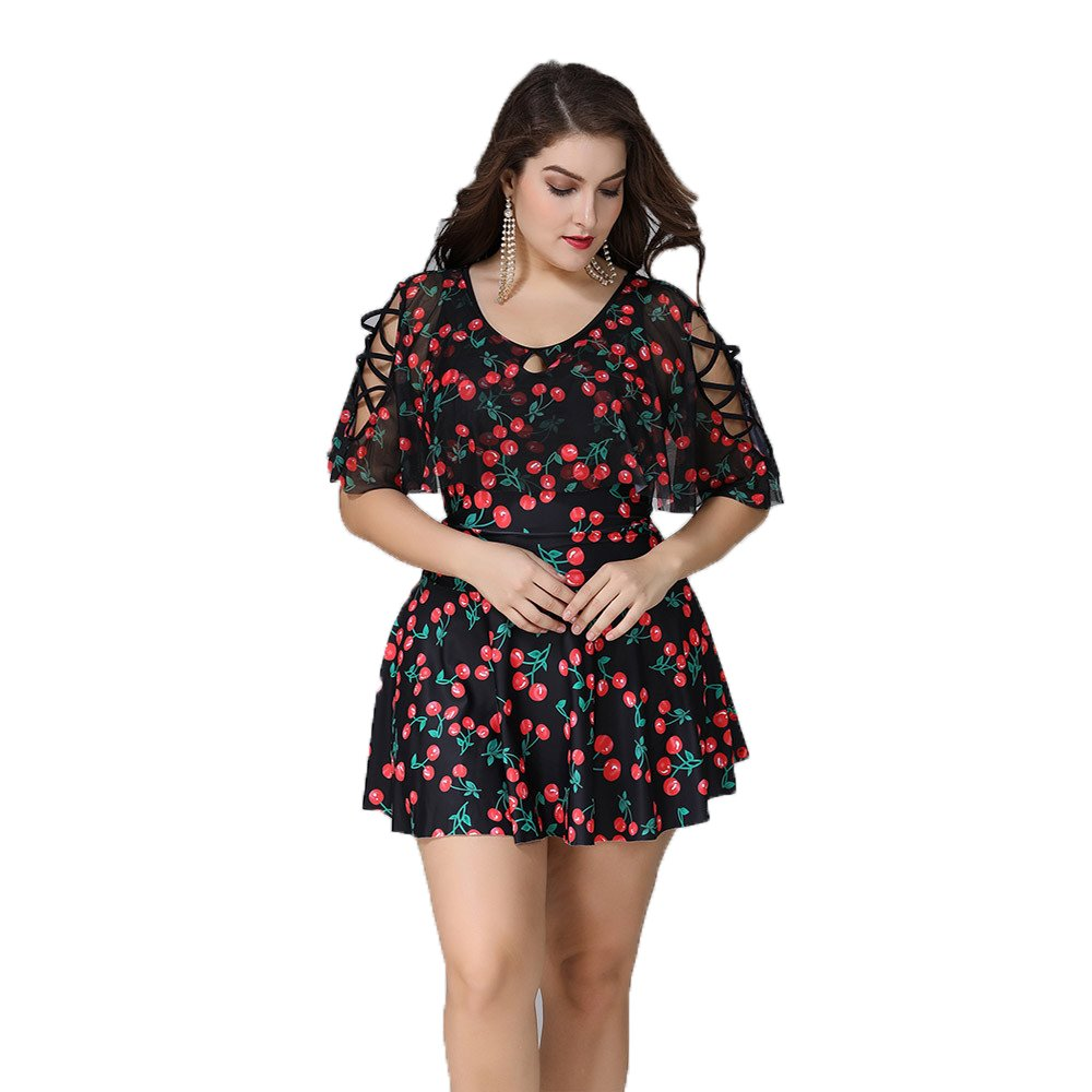72d8577b8baf Wellwits Women's Plus Size Crisscross Flutter Sleeves Cherry Print  Swimdress 5XL