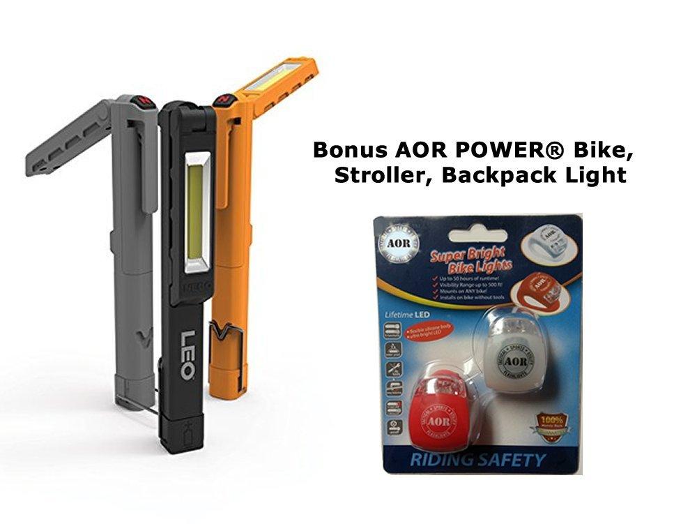 3 Pack NEBO 6657 LEO Work Light and Spot Light #AOR6657, 9 X AAA Batteries Includes Bonus AOR POWER® Bike, Stroller, Backpack, Helmet Lights