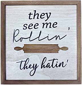 HOMirable Funny Kitchen Wall Décor, They See me Rollin They Hatin, Kitchenware Wood Sign, Farmhouse Home Decoration, Wall Art for Dining Room (Rolling pin)