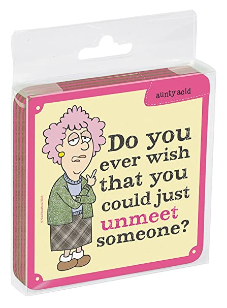 Tree-Free Greetings Set of 4 Cork-Backed Coasters 3.75 x 3.75 Inches Aunty Acid Unmeet Someone EC96446