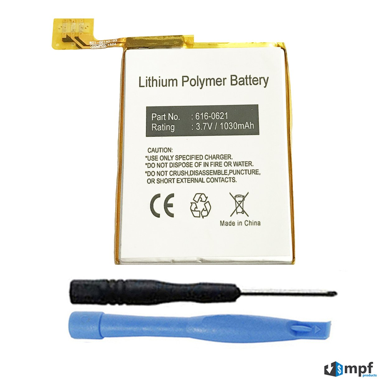 MPF Products 616-0619, 616-0621 Battery Replacement Compatible with Apple iPod Touch 5 (5th Generation) A1421, A1509, 16GB, 32GB, 64GB with Installation Tools