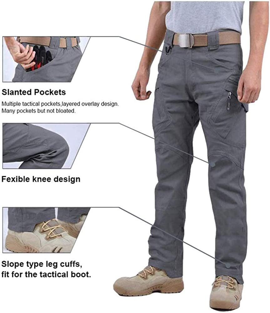 Outdoor Quick Dry Trousers with Zipper Pockets woligiao Mens Outdoor Waterproof Pants Men Cargo Pants Combat Ripstop Trousers