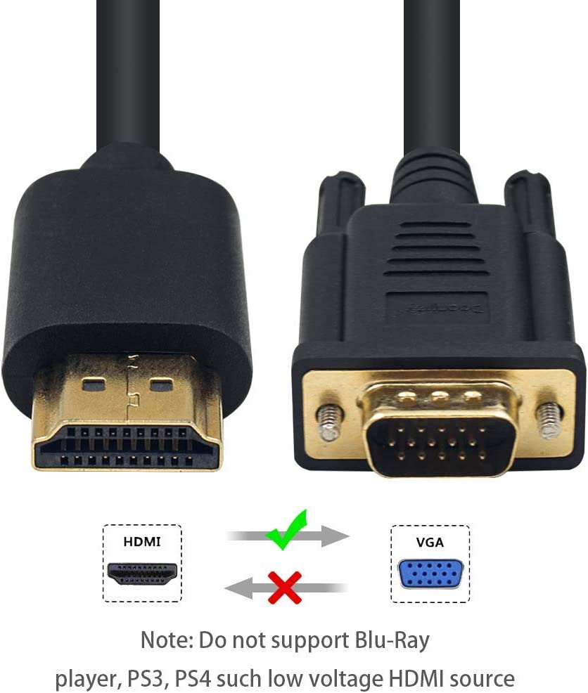 Monitor Duttek HDMI to VGA Adapter Cable Gold Plated 1080P Active HDMI Digital to VGA Analog Video Adapter Converter Cable for Desktop Raspberry Pi Xbox Roku HDTV Projector 3M//10FT