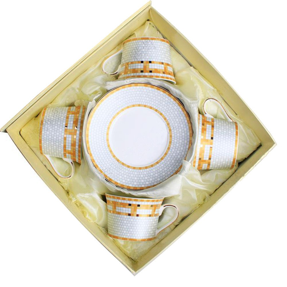 Bone China Ceramic 4 sets Tea Cup Coffee Cup,Yellow