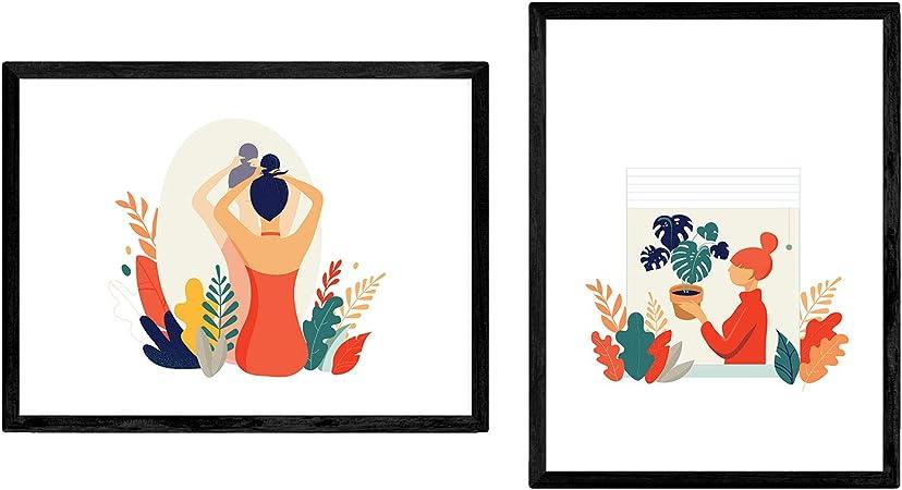 Pack de Posters con ilustracion de Mujeres en casa. Mujer con ...