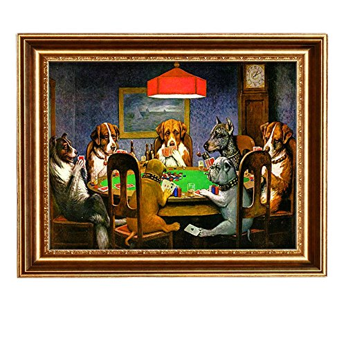 Eliteart-Dogs Playing Poker by Cassius Marcellus Coolidge Oil Painting Reproduction Giclee Wall Art Canvas Prints-Framed (Giclee Framed)