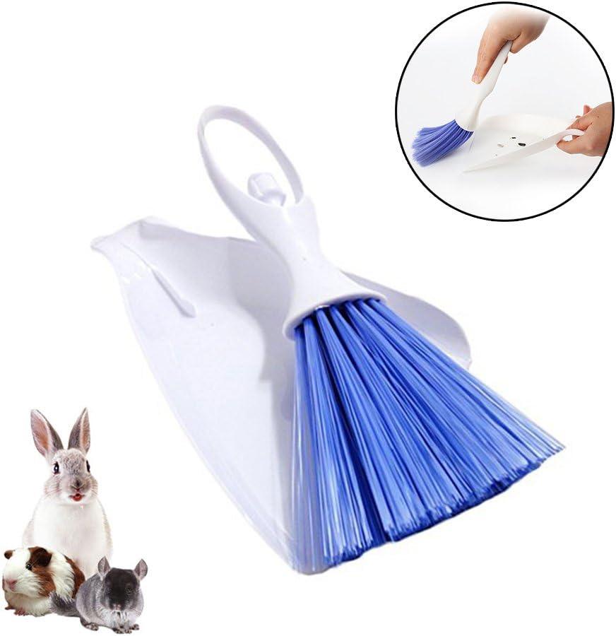 Cepillo de escoba y recogedor para mascotas, kit de limpieza de suelo, utensilios de limpieza para conejos, cobayas, reptiles, erizos, hámsteres y otros animales pequeños