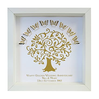 Heartstring Design Personalised Golden Wedding Anniversary Butterfly