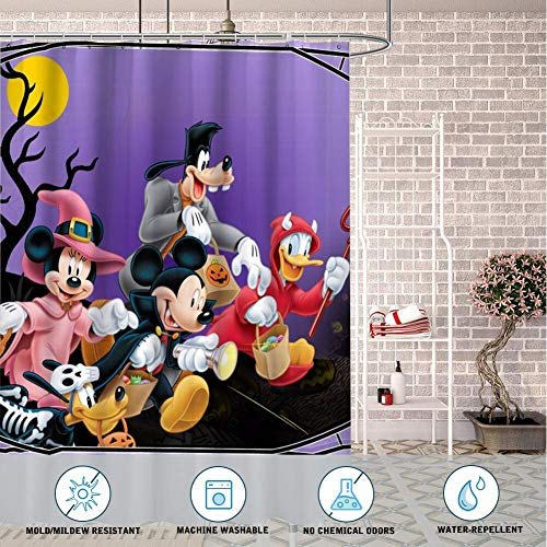 DISNEY COLLECTION Shower Curtain Halloween Mickey Mouse and Minnie Mouse Goofy Donald Duck Pluto Disney Halloween Wallpaper Bathroom Shower Curtains with