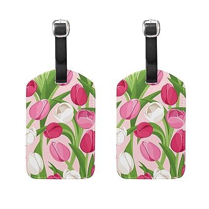 Amazon.com: Juego de 2 etiquetas de equipaje con diseño de ...
