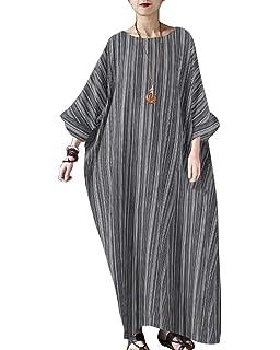 9c9ee474889 Jacansi Women Summer Stripe Long Sleeve V-Neck Cotton Linen Plus Size  Kaftan Dress S