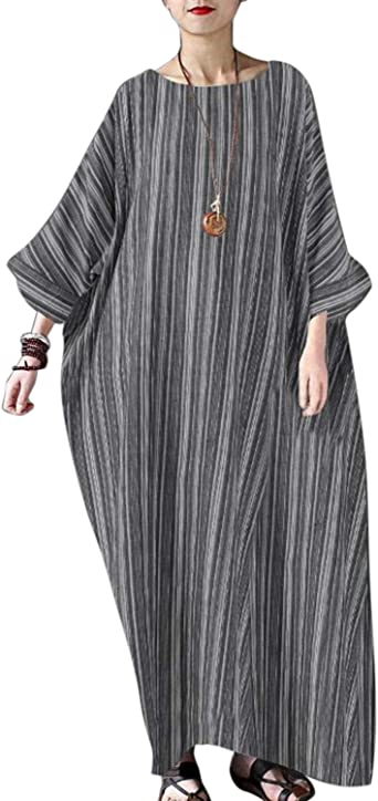 HEATLE Women Kaftan Dresses Vintage Print V-Neck Long Sleeve Retro Baggy Casual Split Hem Cotton Linen Long Maxi Dress