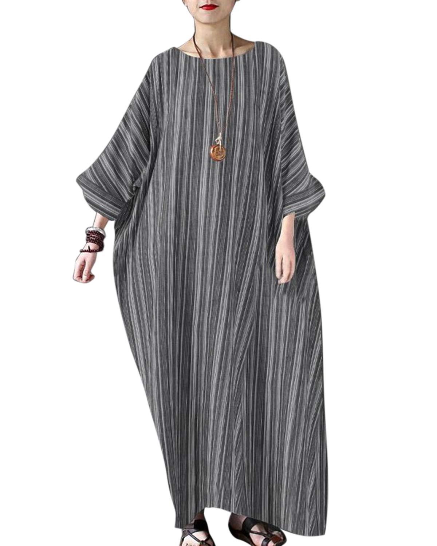 Jacansi Women's Boho Striped Linen Cotton Crew Neck Baggy Maxi Dress Dark Grey L