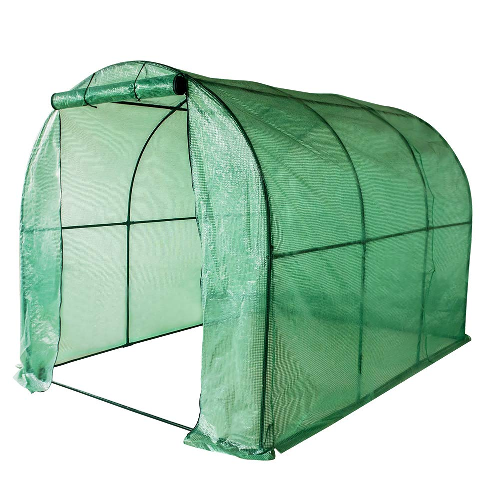 Sundale Outdoor Gardening Large Hot Green House with PE Cover and Zipper Door, Waterproof Walk in Plant Green House, UV Protection, Insect Prevention, 114.8''(L) x 77.4''(W) x 76.4''(H)