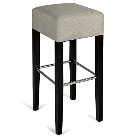 Peachy Costway Fabric Bar Stool Modern Contemporary Bar Height Fabric Backless Padded Seat Pub Bistro Kitchen Dining Side Chair Barstools With Solid Wood Uwap Interior Chair Design Uwaporg
