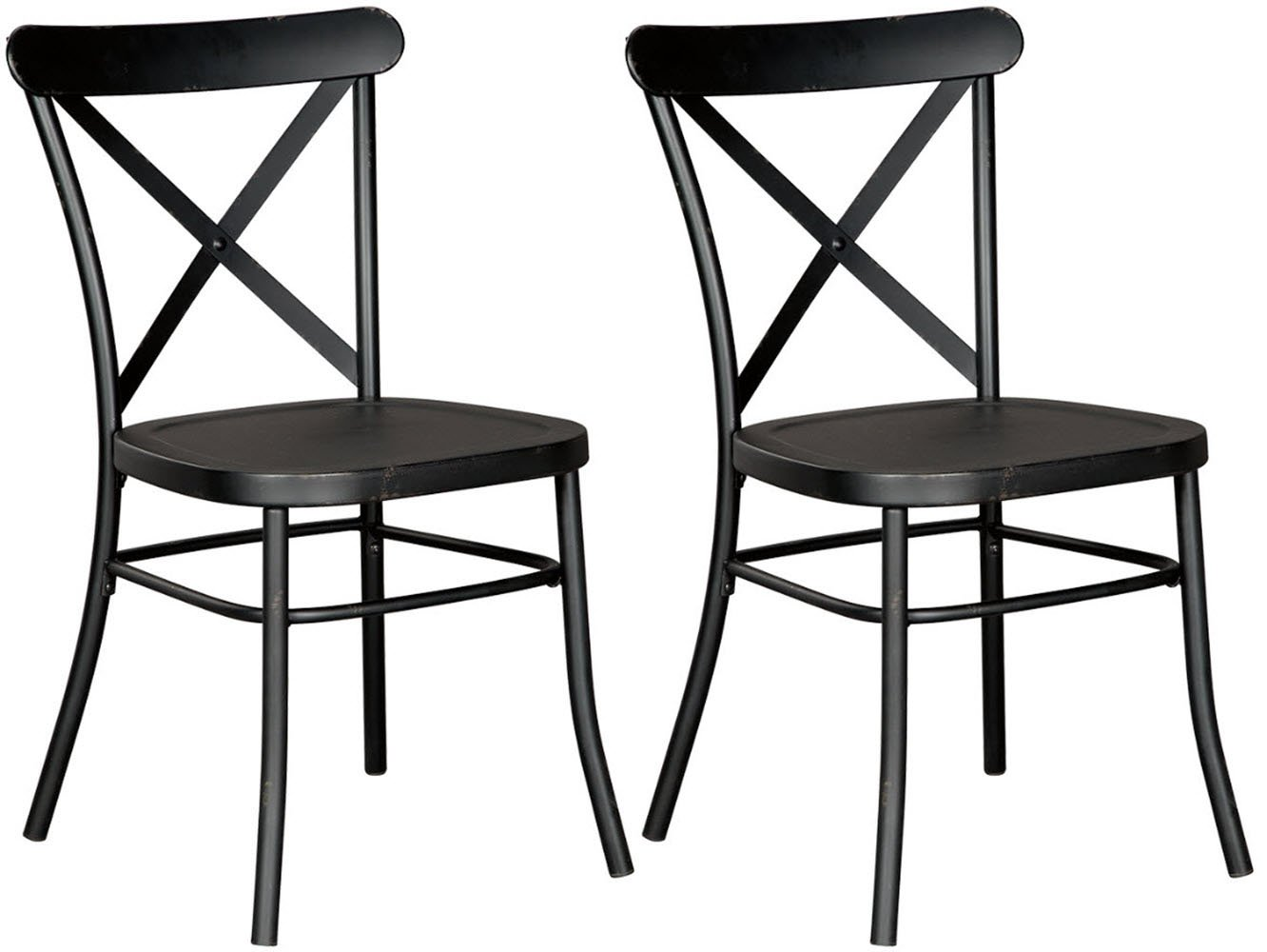 Ashley Furniture Signature Design – Minnona Dining Side Chair – Set of 2 – Cross Back – Vintage Casual Style – Antique Black Finished Metal