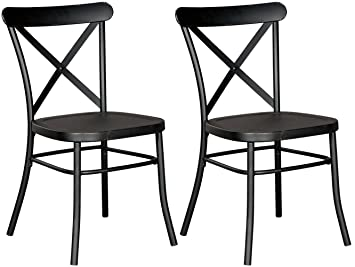Fine Ashley Furniture Signature Design Minnona Dining Side Chair Set Of 2 Cross Back Vintage Casual Style Antique Black Finished Metal Lamtechconsult Wood Chair Design Ideas Lamtechconsultcom