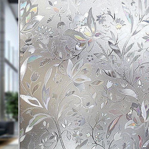 Rabbitgoo Premium No Glue 3d Static Decorative Frosted Privacy Window Films for Glass,23.6in. by 78.7in. (60 X 200cm) Upgrade Version for Home Kitchen Office - Frosted Design Side Glass