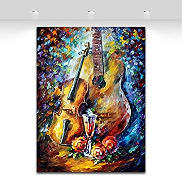 TTKX@ 100% Pintado A Mano Instrumento De Música Pintura Al Óleo sobre Lienzo Guitarra
