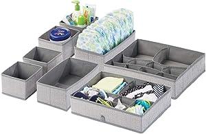 mDesign Soft Fabric Dresser Drawer and Closet Storage Organizer Set for Child/Kids Room, Nursery - Includes Organizer Bins in 3 Sizes - Herringbone Print with Solid Trim - Set of 8 - Gray