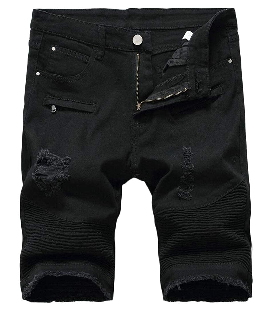 CYJ-shiba Mens Jeans Stylish Ripped Destroyed Solid Straight Slim Fit Denim Shorts